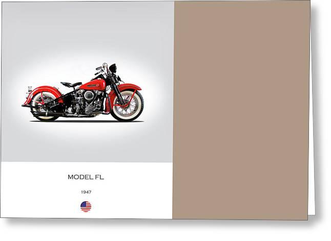 Motorcycles Greeting Cards - Harley Davidson Model  FL Greeting Card by Mark Rogan