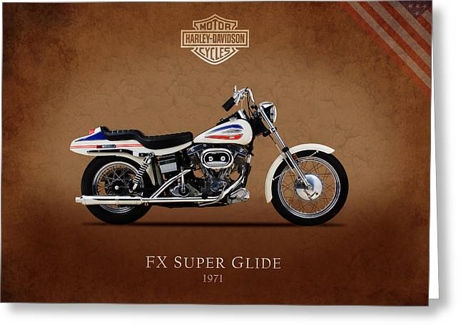 Duo Greeting Cards - Harley-Davidson Model FX Super Glide 1971 Greeting Card by Mark Rogan