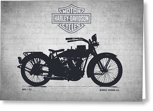 Antique Digital Art Greeting Cards - Harley Davidson Model J 1921 - Gray Greeting Card by Aged Pixel