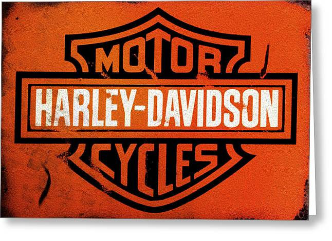 Sign Photographs Greeting Cards - Harley Davidson Motor Cycles Greeting Card by Mark Rogan