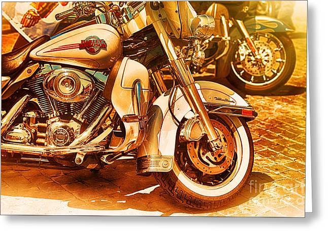 Driving Life Greeting Cards - Harley Davidson Motor Cycles Greeting Card by Stefano Senise