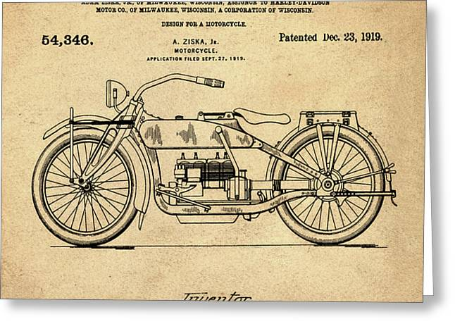 Harley Davidson Motorcycle Patent 1919 In Sepia Greeting Card by Bill Cannon