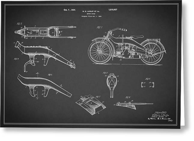Harley Davidson Motorcycle Patent 1924 Greeting Card by Mark Rogan