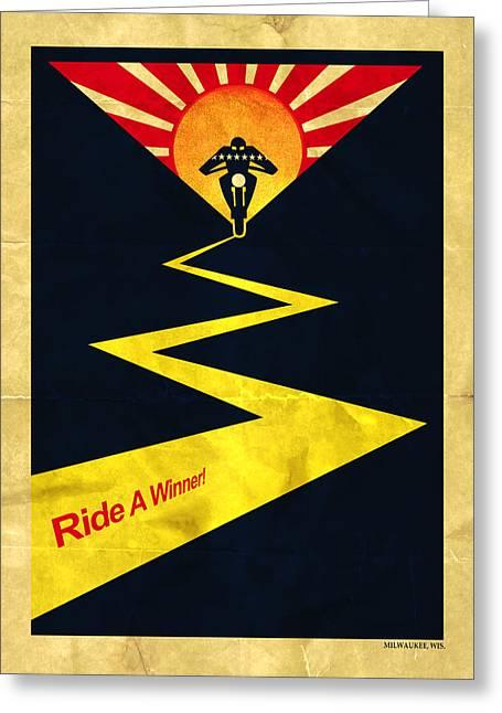 Harley Ride A Winner Greeting Card by Mark Rogan