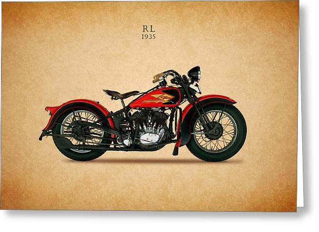 Glide Greeting Cards - Harley-Davidson RL 1935 Greeting Card by Mark Rogan