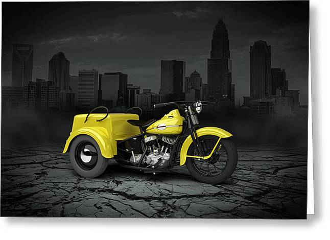 Bobber Greeting Cards - Harley Davidson Service Car 1942 City Greeting Card by Aged Pixel