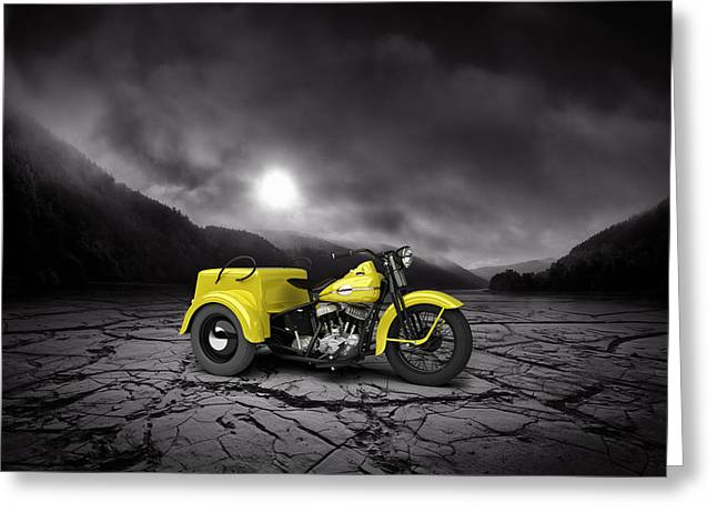 Bobber Greeting Cards - Harley Davidson Service Car 1942 Mountains Greeting Card by Aged Pixel