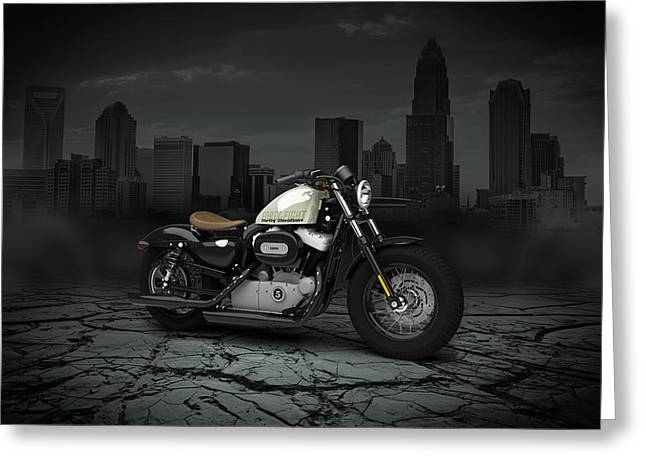 Forty Greeting Cards - Harley Davidson Sportster Forty Eight 2013 City Greeting Card by Aged Pixel