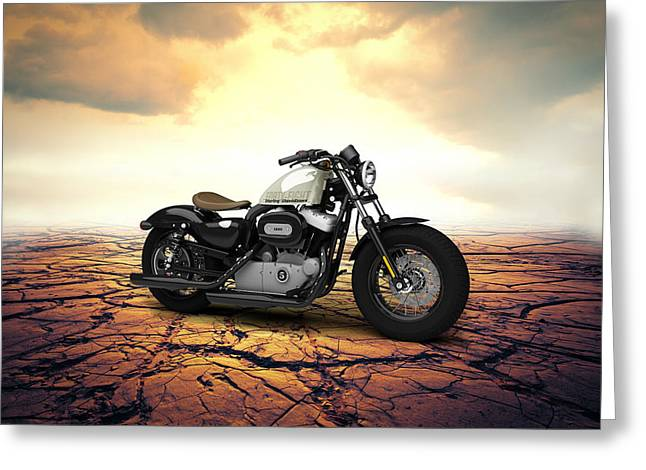 Forty Greeting Cards - Harley Davidson Sportster Forty Eight 2013 Desert Greeting Card by Aged Pixel