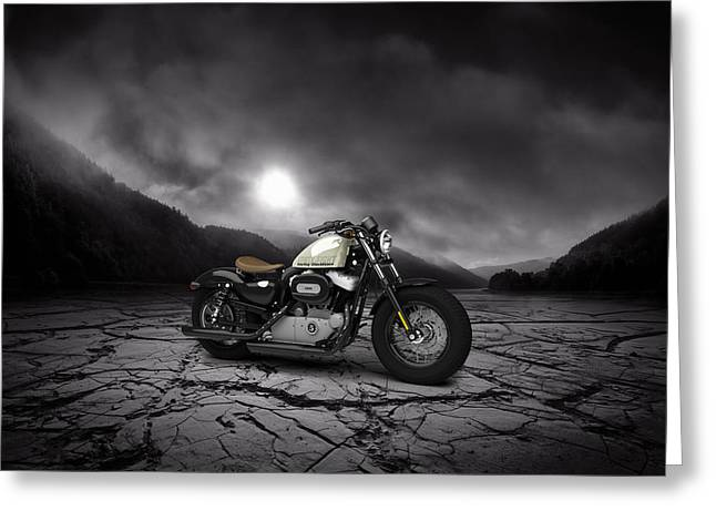 Forty Greeting Cards - Harley Davidson Sportster Forty Eight 2013 Mountains Greeting Card by Aged Pixel