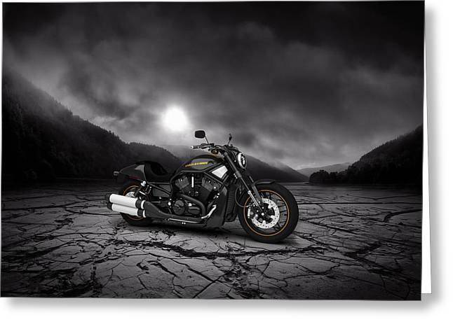 Mountain Valley Greeting Cards - Harley Davidson V-Rod 2013  Mountains Greeting Card by Aged Pixel