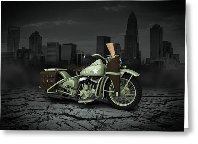 Bobber Greeting Cards - Harley Davidson WLA 1942 City Greeting Card by Aged Pixel