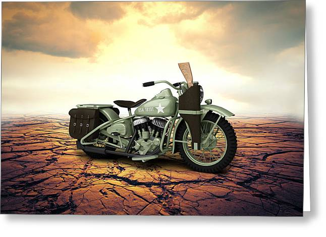 Bobber Greeting Cards - Harley Davidson WLA 1942 Desert Greeting Card by Aged Pixel