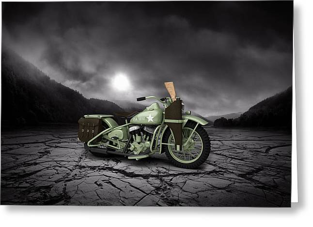 Bobber Greeting Cards - Harley Davidson WLA 1942 Mountains Greeting Card by Aged Pixel