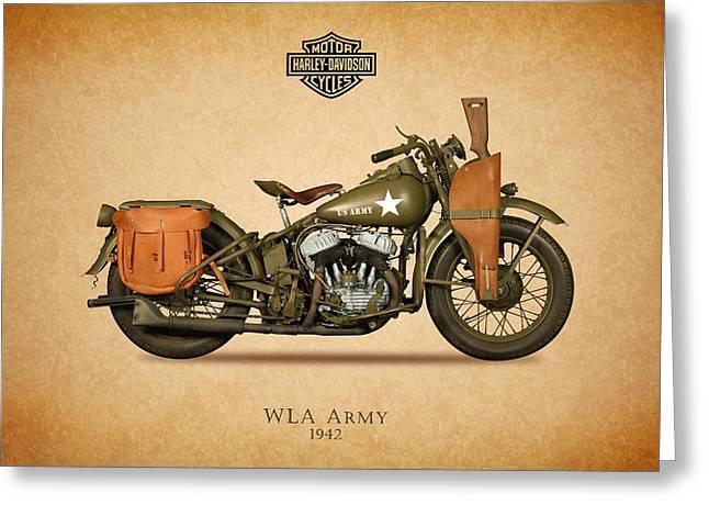 Glide Greeting Cards - Harley Davidson WLA Army Greeting Card by Mark Rogan