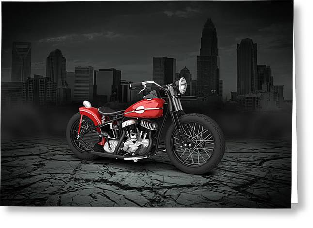 Bobber Greeting Cards - Harley Davidson WLA  Bobber 1945 City Background Greeting Card by Aged Pixel
