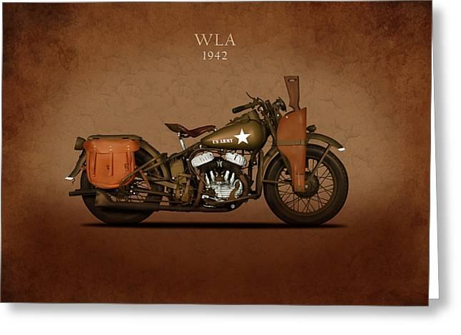 Glide Greeting Cards - Harley Davidson WLA Greeting Card by Mark Rogan