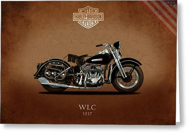 Glide Greeting Cards - Harley Davidson WLC 1937 Greeting Card by Mark Rogan