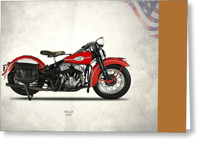 Glide Greeting Cards - Harley-Davidson WLD 1941 Greeting Card by Mark Rogan