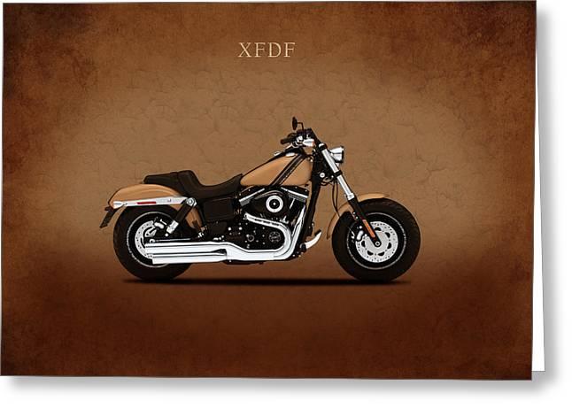 Glide Greeting Cards - Harley Fat Bob Greeting Card by Mark Rogan