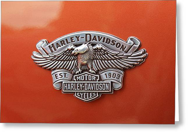 Head Badge. Logo. Greeting Cards - Harley Greeting Card by Kitty Ellis