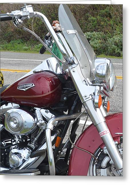Highway One Greeting Cards - Harley Lights Greeting Card by Barbara Snyder