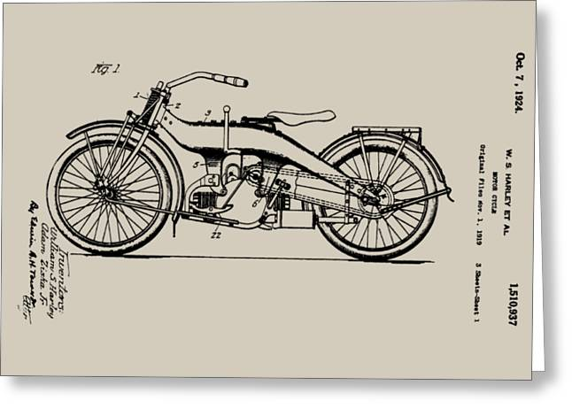 Bill Cannon Greeting Cards - Harley Motorcycle Patent Greeting Card by Bill Cannon