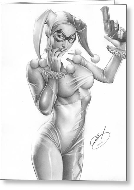 Black Drawings Greeting Cards - Harley Quinn Greeting Card by Pete Tapang