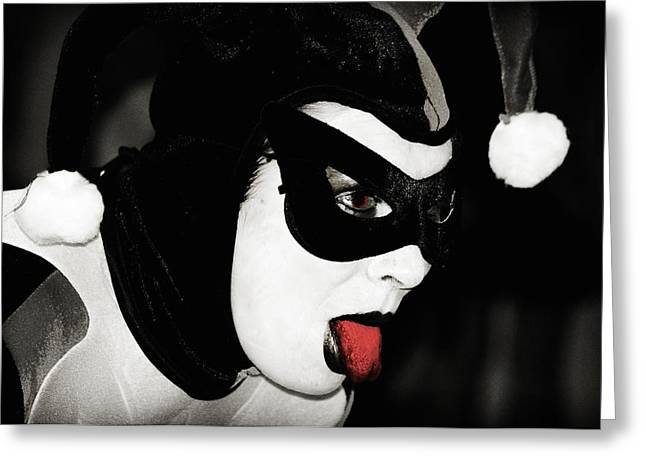 Cosplayers Photographs Greeting Cards - Harley Quinn Greeting Card by Stephen Routsis