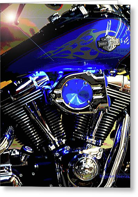 Harleys Twins Greeting Card by DigiArt Diaries by Vicky B Fuller