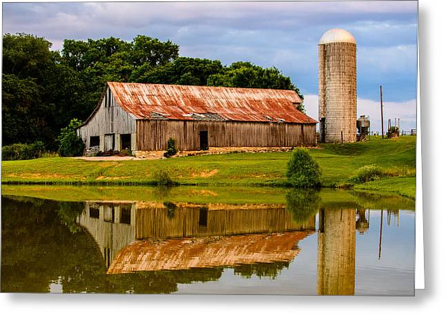 Historic Franklin Tennessee Greeting Cards - Harlinsdale Barn Reflection Greeting Card by Jim Diamond