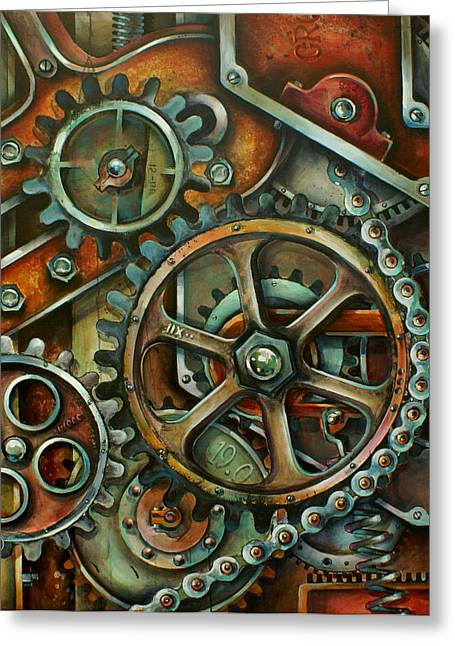 Gear Paintings Greeting Cards - Harmony 3 Greeting Card by Michael Lang