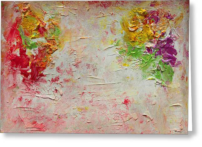 Red Green And Gold Abstracts Greeting Cards - Harmony and Balance Greeting Card by Julia Apostolova