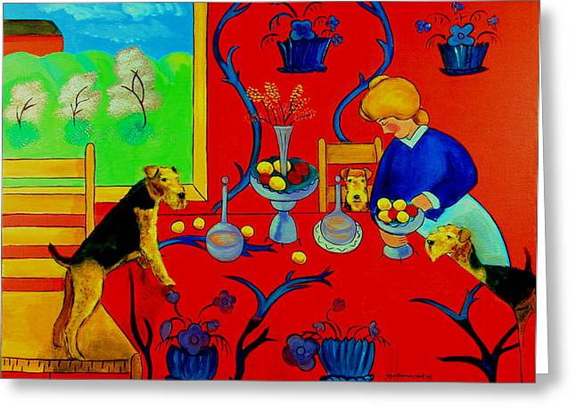 Puppies Paintings Greeting Cards - Harmony in Red Kitchen with Airedales after Matisse Greeting Card by Lyn Cook