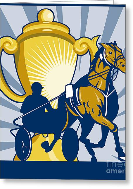 Cart Driving Greeting Cards - Harness cart horse racing Greeting Card by Aloysius Patrimonio