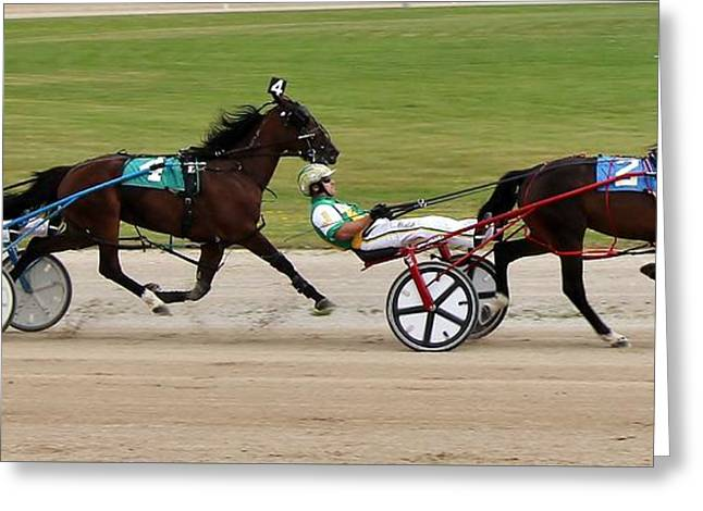 Race Horse Greeting Cards - Harness Racing 0102 Greeting Card by Barry W Ulrich