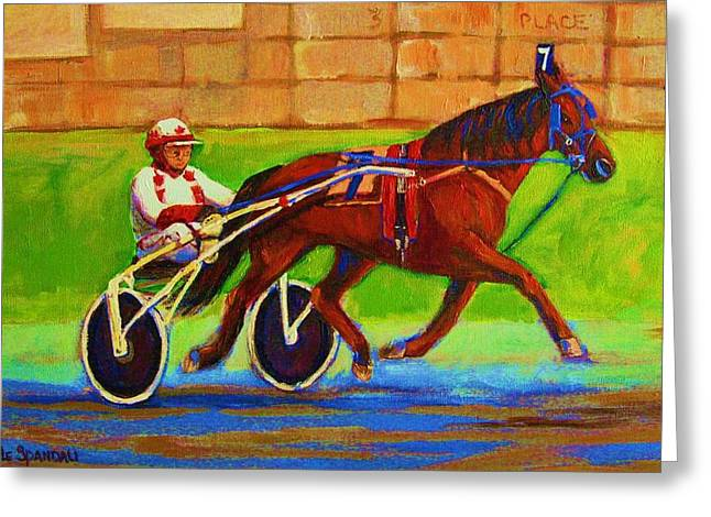 Park Scene Paintings Greeting Cards - Harness Racing At Bluebonnets Greeting Card by Carole Spandau