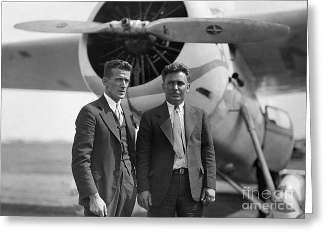 Famous Aviators Greeting Cards - Harold Gatty & Wiley Post Greeting Card by Photo Researchers, Inc.
