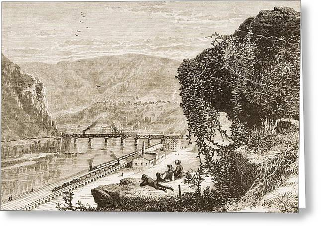 Harpers Ferry Greeting Cards - Harpers Ferry Circa 1870s. From Greeting Card by Ken Welsh