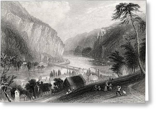 Stonewall Drawings Greeting Cards - Harpers Ferry From The Potomac Side Greeting Card by Vintage Design Pics
