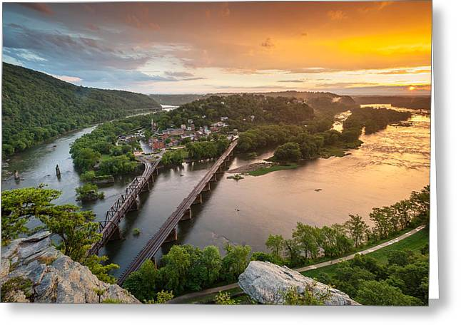 Harpers Ferry Greeting Cards - Harpers Ferry National Historical Park Maryland Heights Sunset Greeting Card by Mark VanDyke