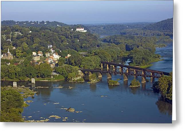 Harpers Ferry Greeting Cards - Harpers Ferry West Virginia From Above Greeting Card by Brendan Reals