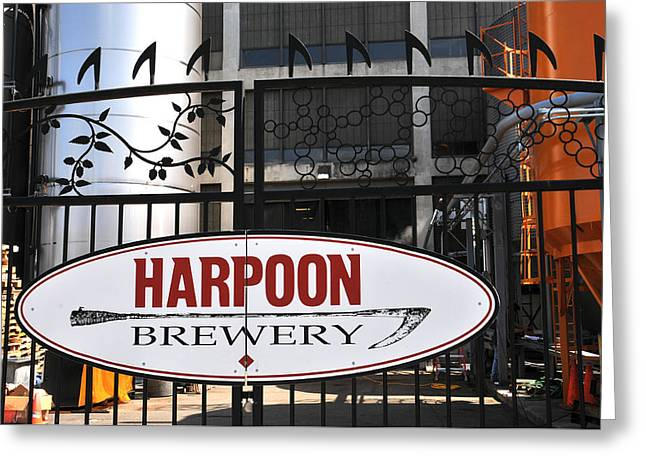 Boston Ma Greeting Cards - Harpoon Brewery Sign on Gate Greeting Card by Mike Martin