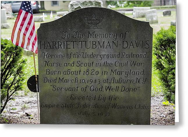 Tubman Greeting Cards - Harriet Tubman Gravestone Greeting Card by Stephen Stookey