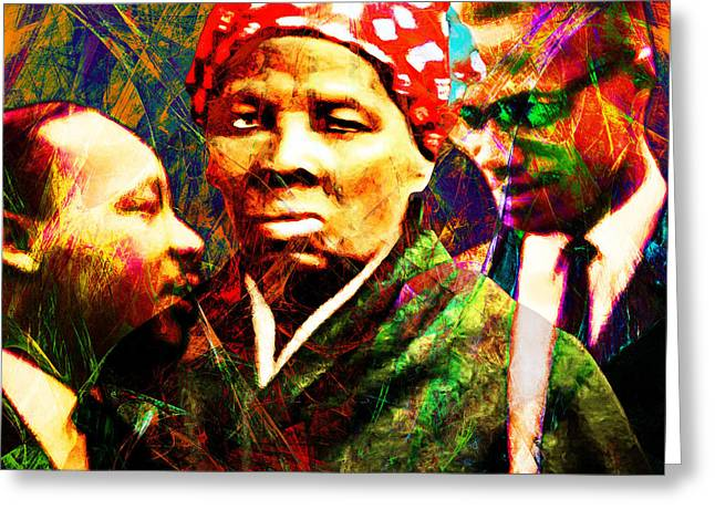 Harriet Tubman Martin Luther King Jr Malcolm X 20160421 Square Greeting Card by Wingsdomain Art and Photography