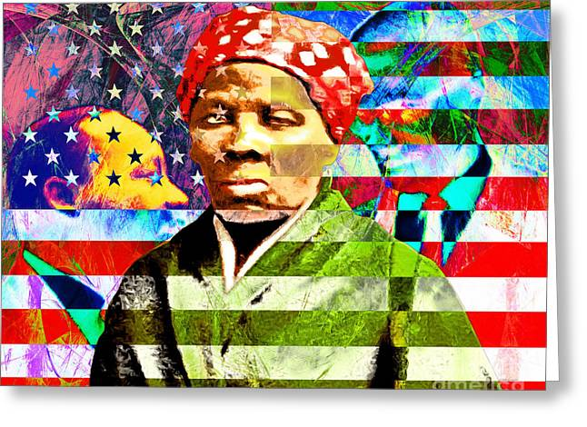 Harriet Tubman Martin Luther King Jr Malcolm X American Flag Greeting Card by Wingsdomain Art and Photography