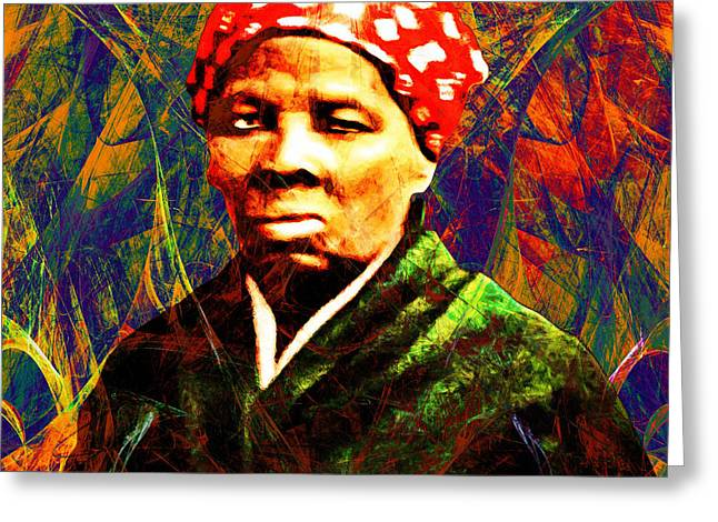 Harriet Tubman Underground Railroad In Abstract 20160422 Square With Text Greeting Card by Wingsdomain Art and Photography