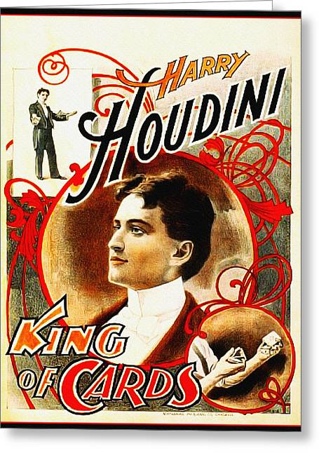 Tricks Greeting Cards - Harry Houdini - King of Cards Greeting Card by Digital Reproductions