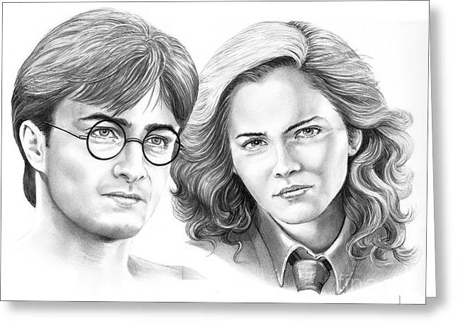 Harry Potter And Hermione Greeting Card by Murphy Elliott