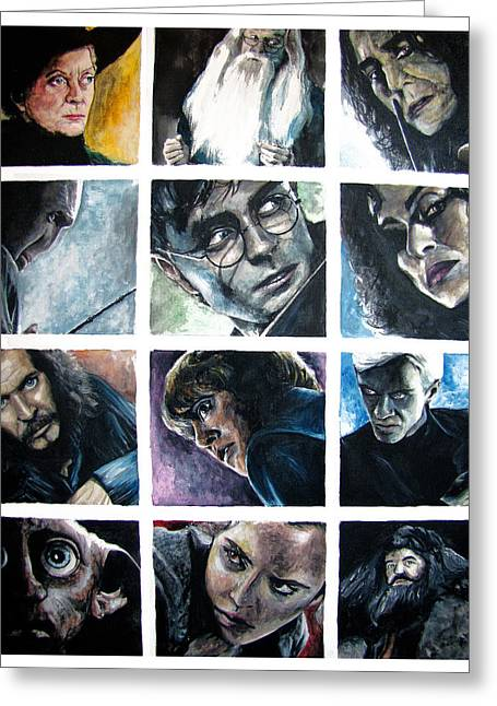 Snape Greeting Cards - Harry Potter Cast Greeting Card by Sarah Stonehouse